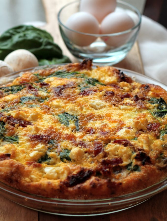 Crustless Spinach, Mushroom, Sundried Tomato and Feta Quiche