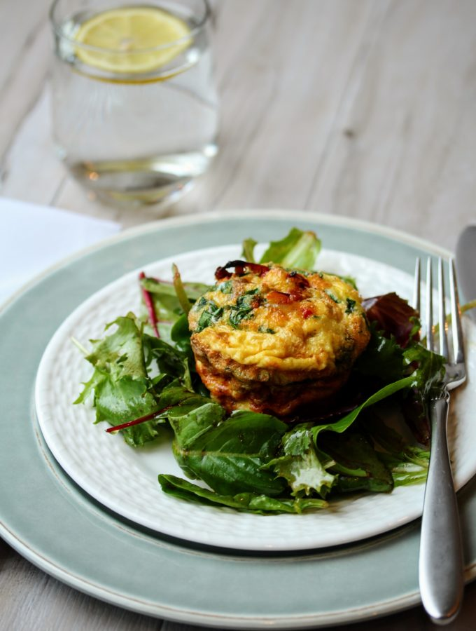 Chorizo Egg Muffins with Spinach and Mushrooms