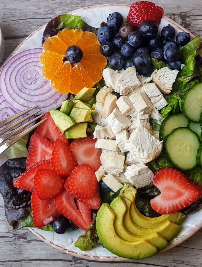 Chicken, Strawberry, Blueberry Salad with Poppy Seed Dressing