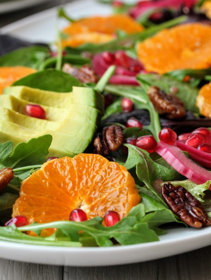 Christmas Morning Salad with Pomegranate Vinaigrette
