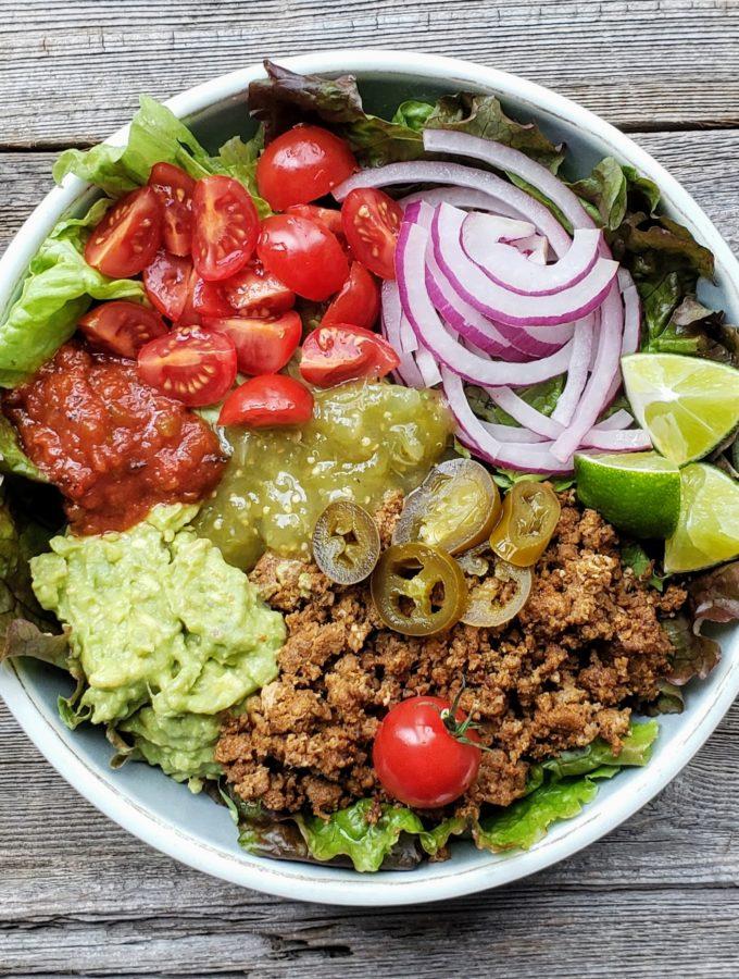 Ground Beef Taco Salad (dairy free, gluten free)