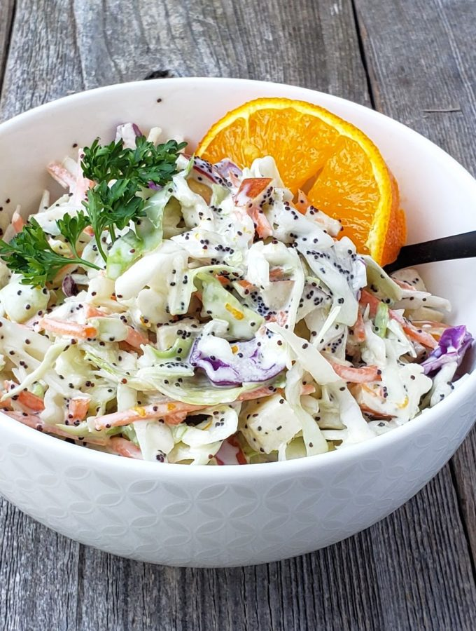 Coleslaw with Citrus Poppy Seed Dressing (dairy free)