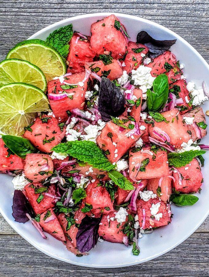 Watermelon with Basil Salad